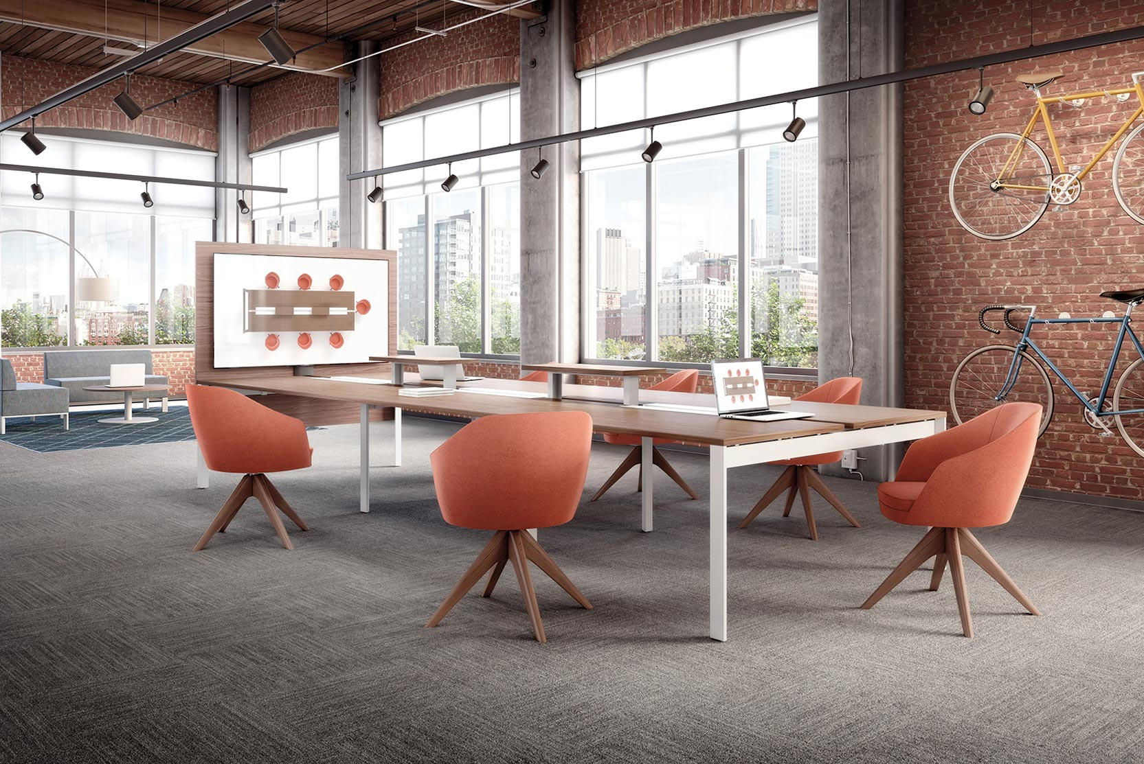 boardroom with orange chairs