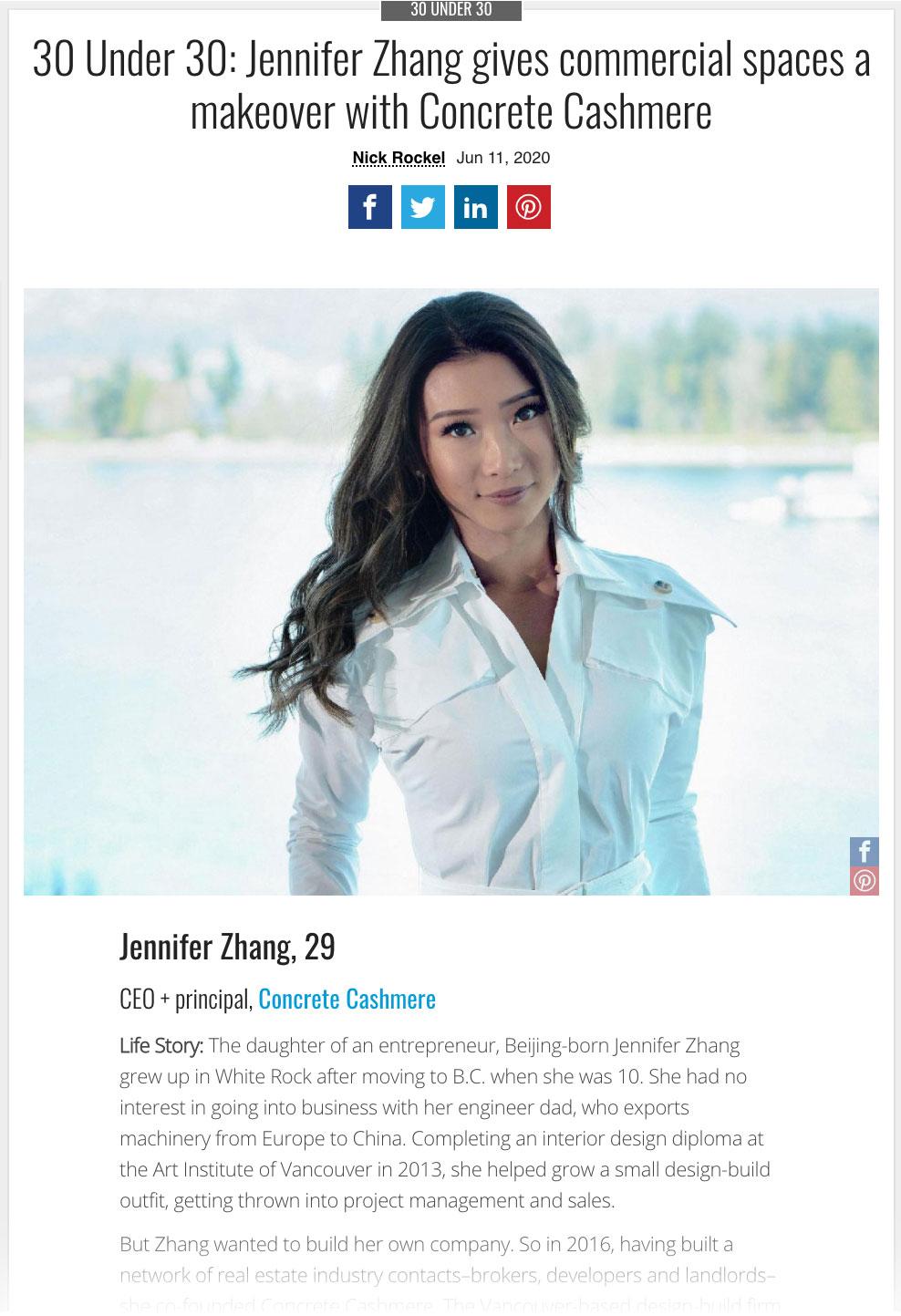 Jennifer Zhang 30 Under 30 BC Business Article
